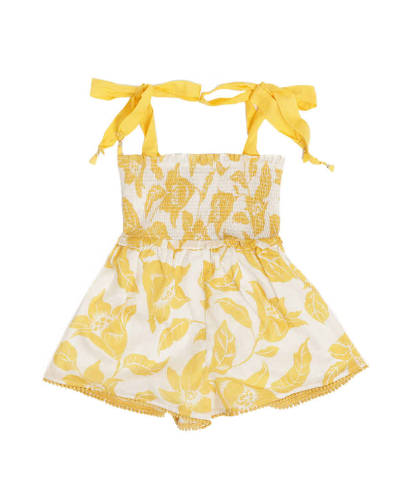 Bells Shirred Playsuit - Yellow Tropical Print
