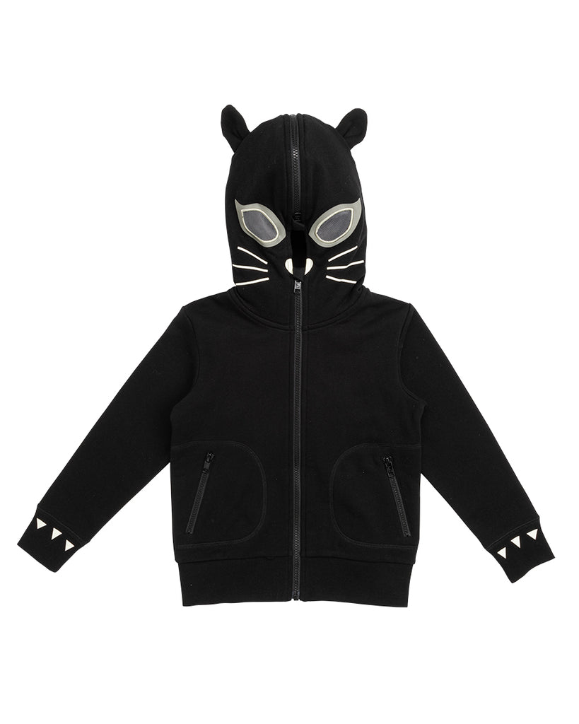 black zip up hoodie with cat mask hood