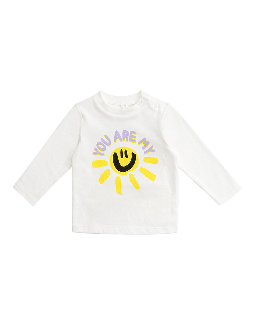 white long sleeve tee with you are my sunshine print