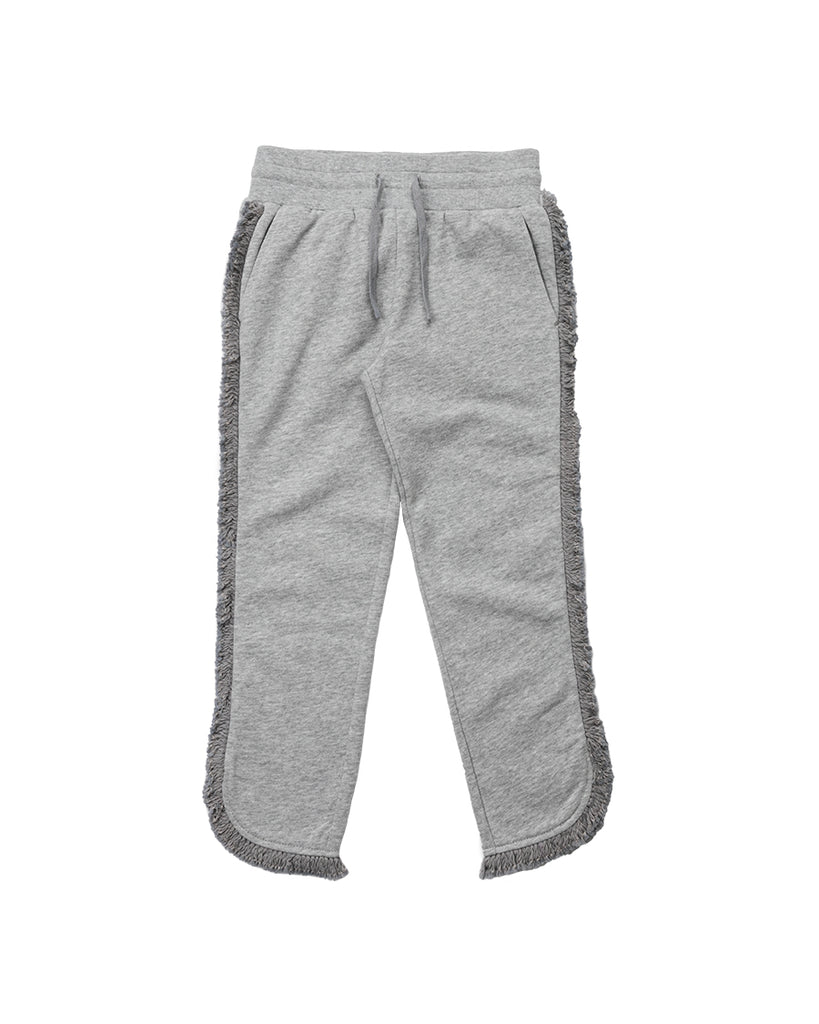 grey sweat joggers with fringe hem detail