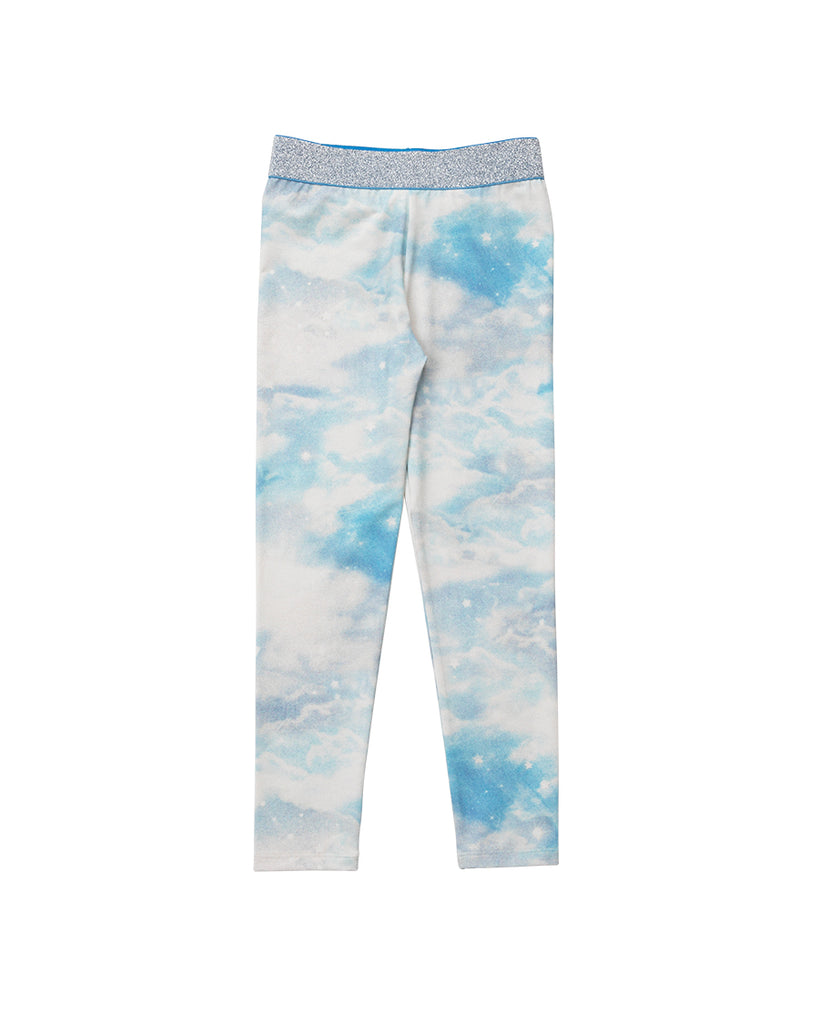 cloud print leggings with silver waistband