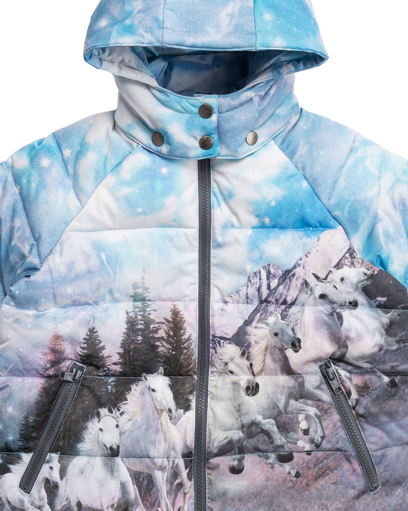 blue landscape with horses printed puffer jacket