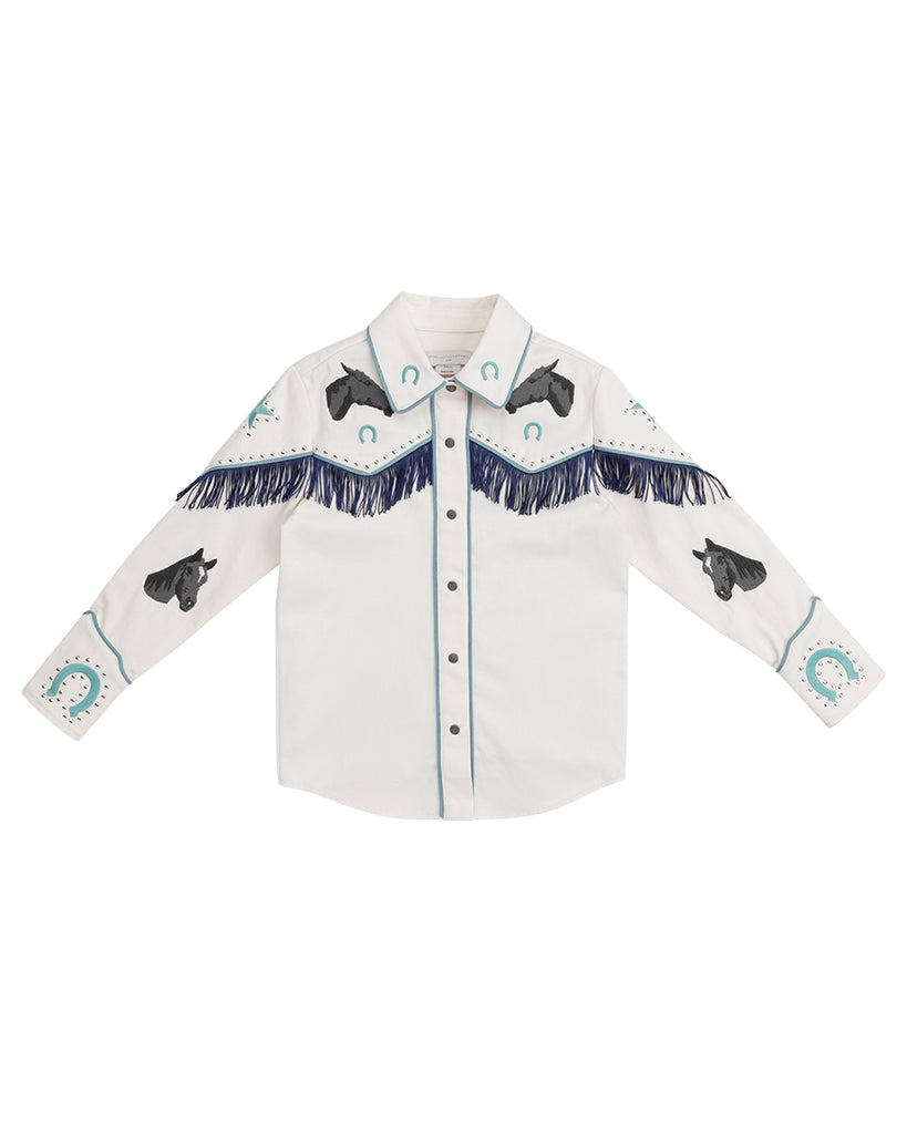 cream button up fringe shirt with embroidered horse details