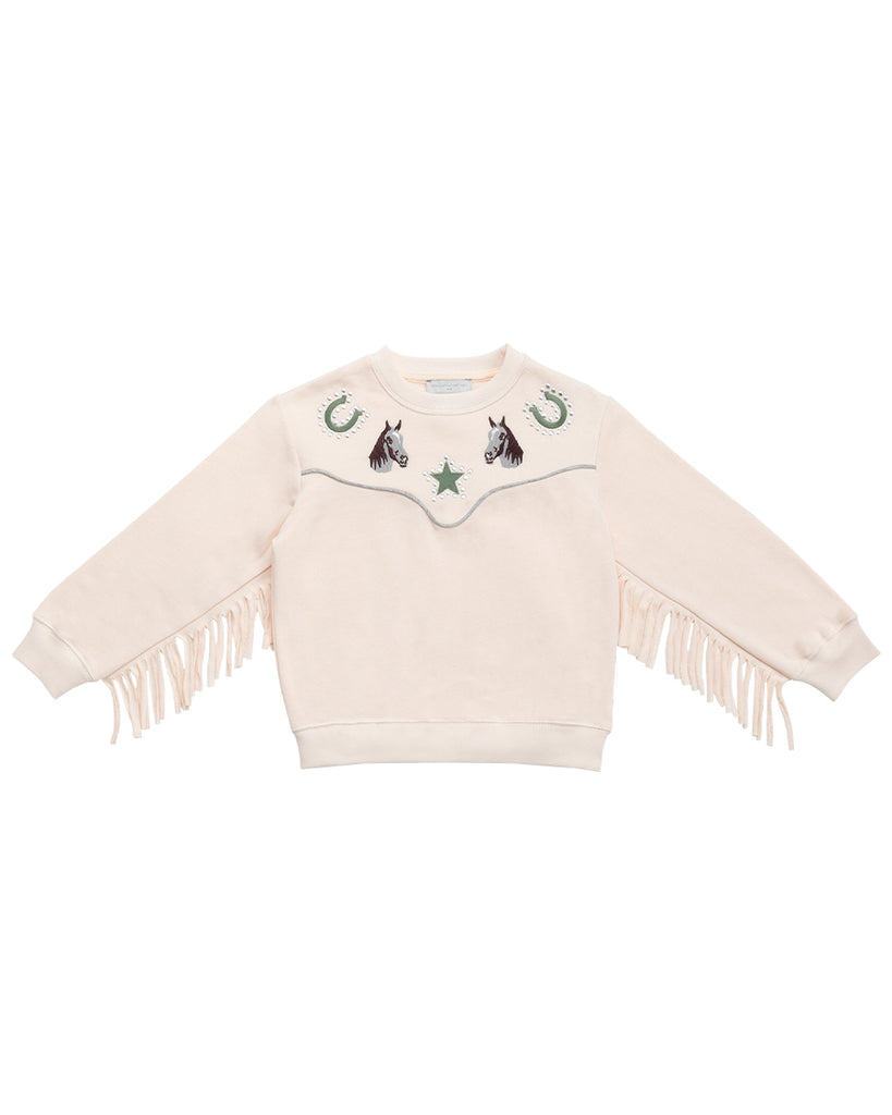 Fringe Sleeves Sweatshirt with Embroidered Horses - Pink