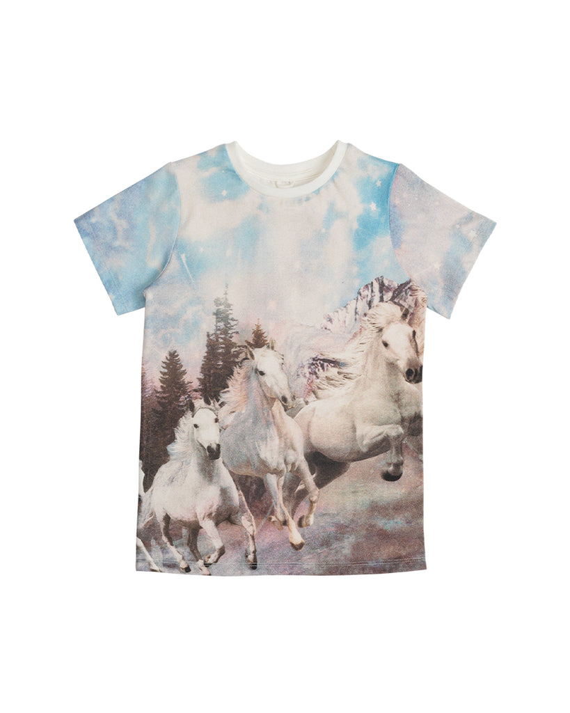 riding horses graphic print t-shirt