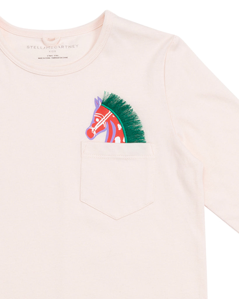 pale pink long sleeve tee with horse patch pocket