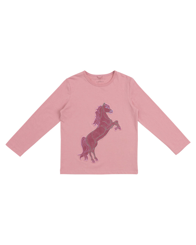 pink long sleeve tee with velvet horse patch