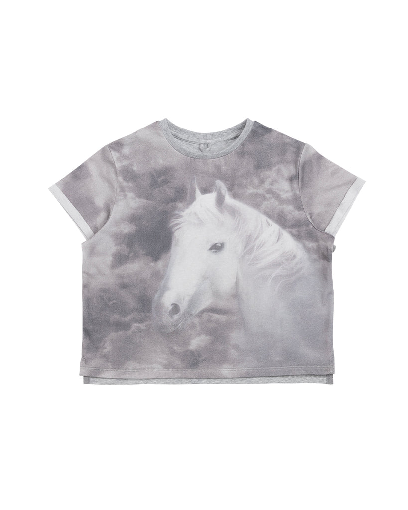 grey horse print graphic t-shirt
