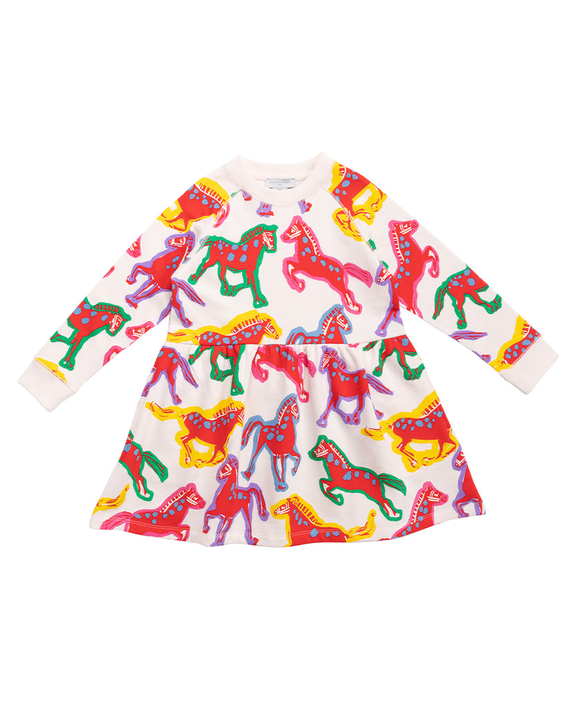 painted horses print long sleeve sweatshirt dress