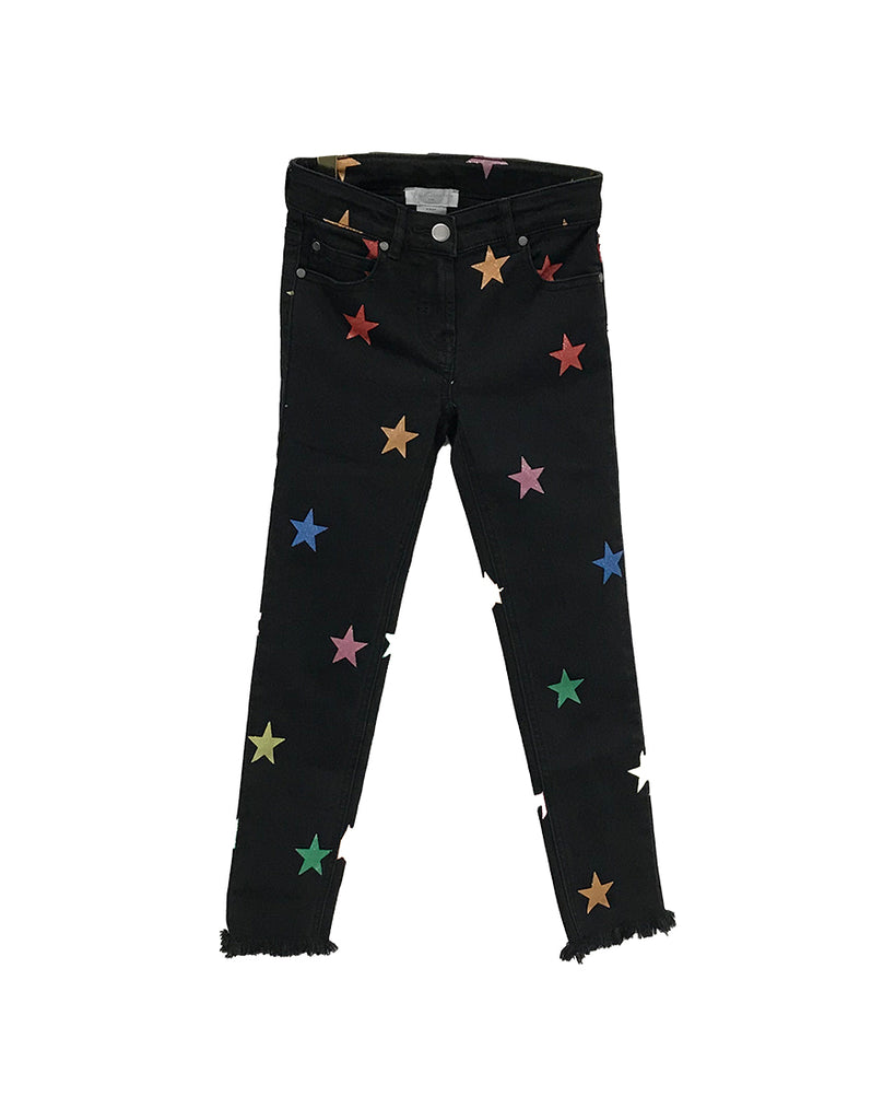 black denim pants with glitter rainbow stars