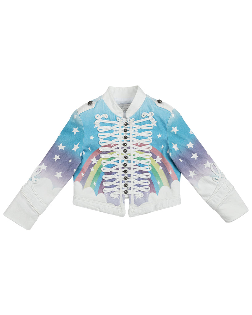 white denim jacket with rainbow print
