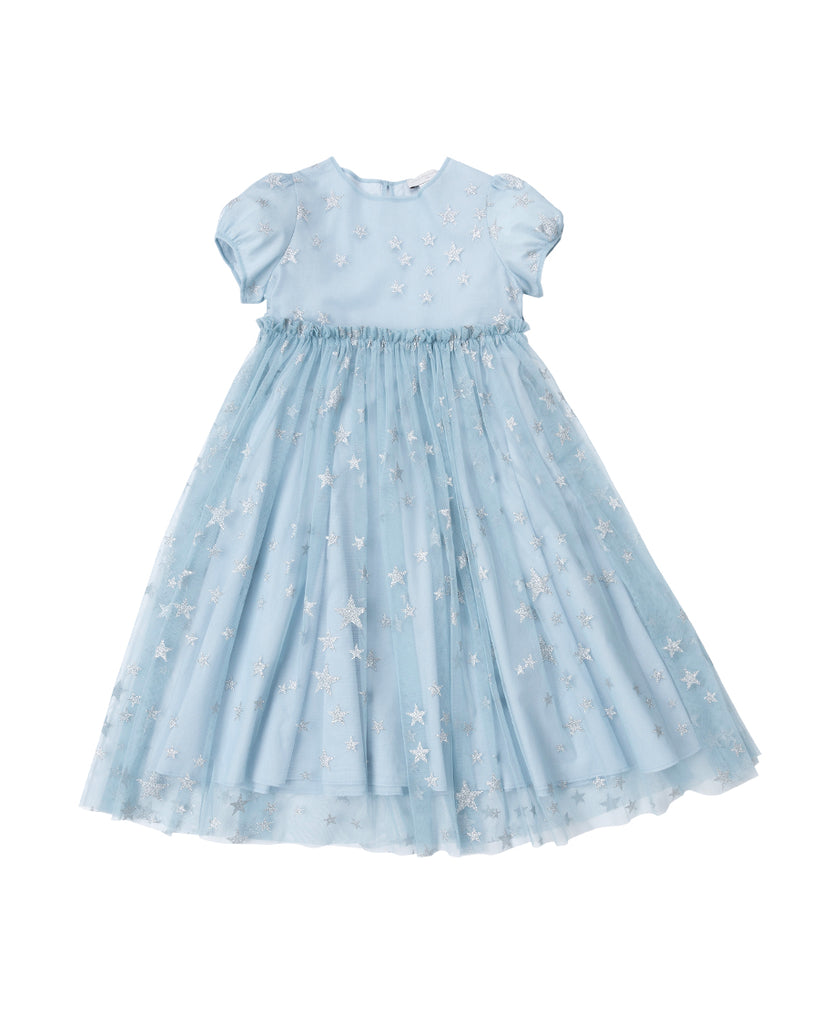 powder blue short sleeve silver stars tulle dress