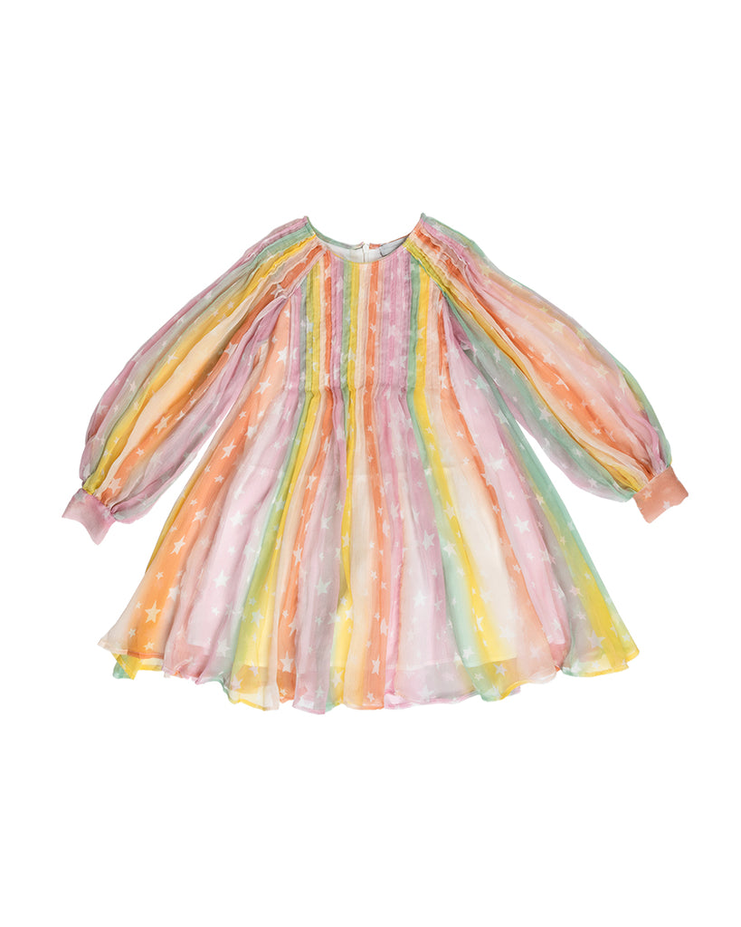 long sleeve rainbow silk dress with white stars pattern