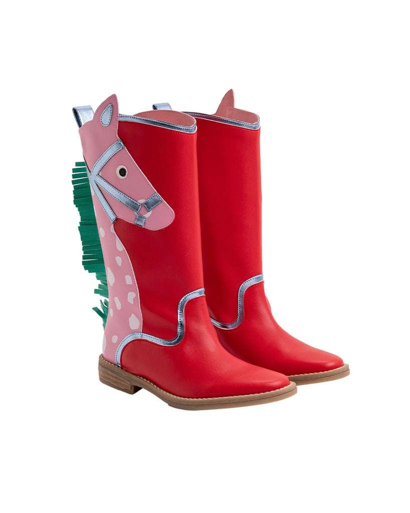 red leather horse patch mid calf boots