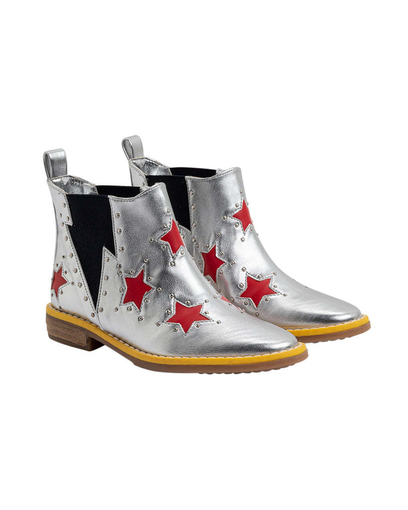 silver metallic booties with red stars print