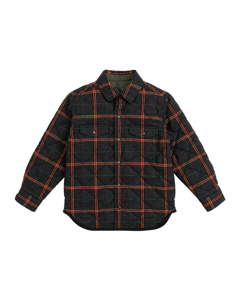 green button up reversible checker shirt