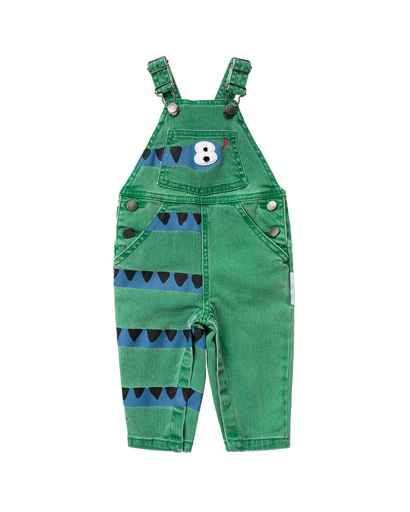 green denim dungaree with snake graphic print