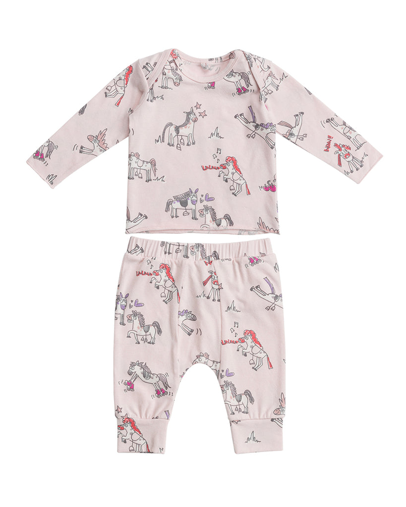 pink long top and legging set with doodle horses print