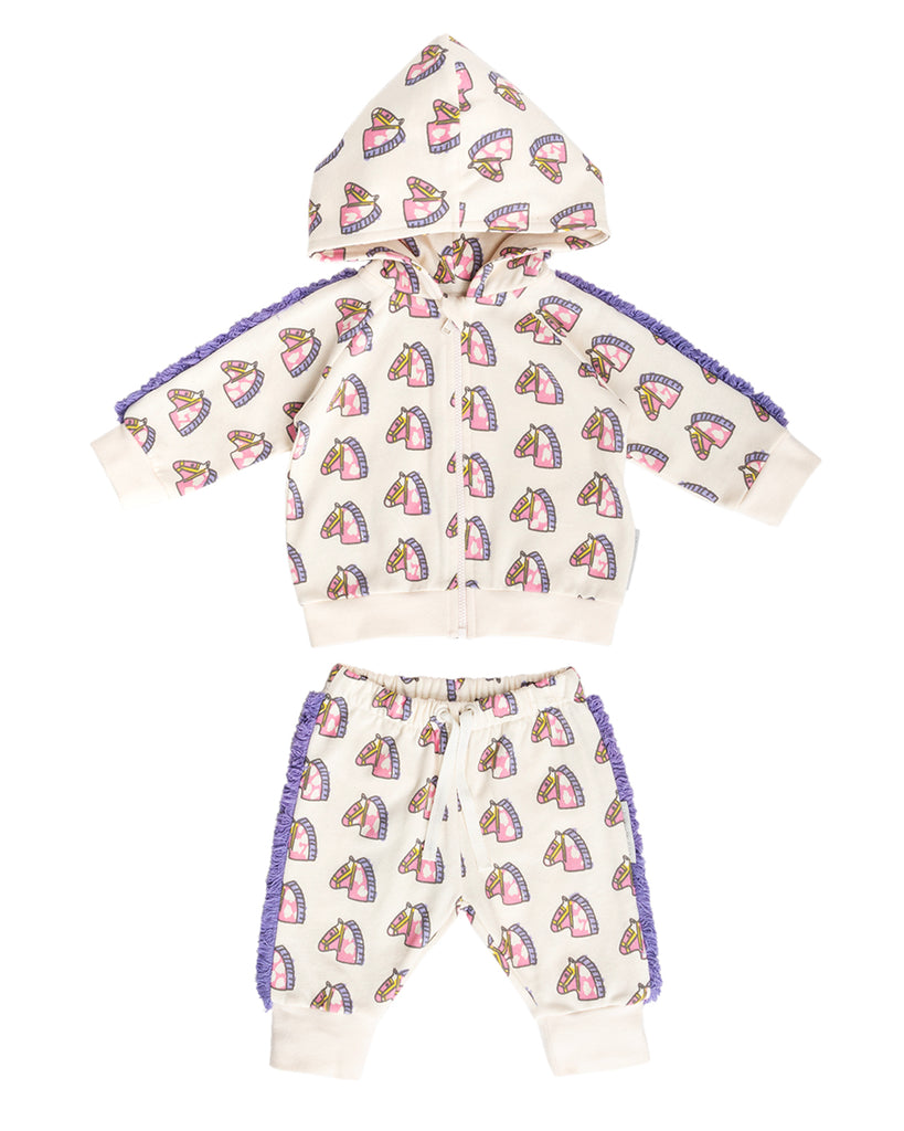 cream fringe hoodie and jogger set with doodle horse pattern