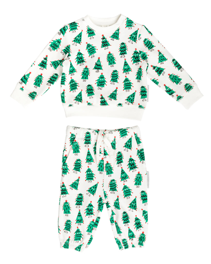 white sweatshirt and sweatpants set with doodle christmas trees