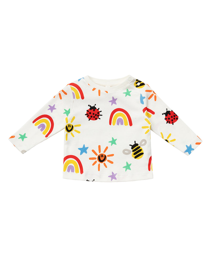 white crayon doodle print top and legging set