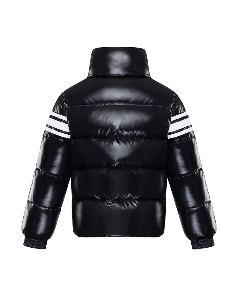 black down jacket with graphic logo print