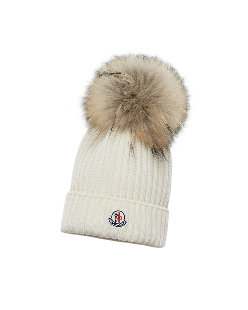 off white cashmere knit beanie with fur pom pom and logo