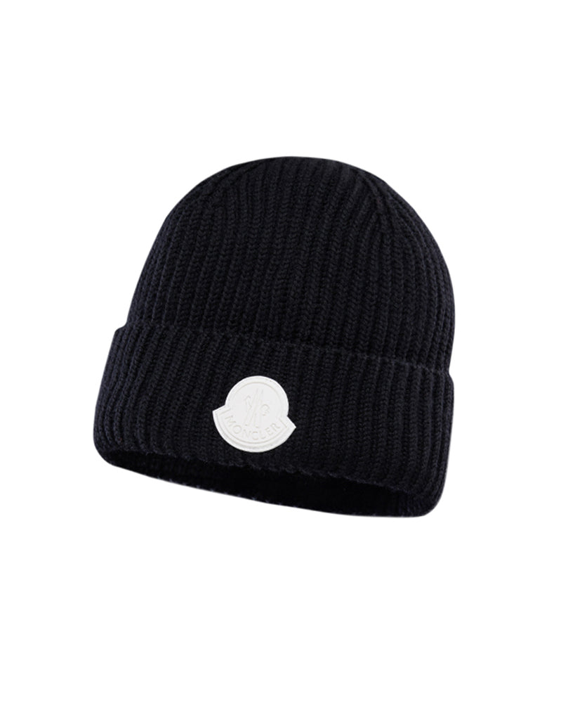 black wool knit beanie with all white logo
