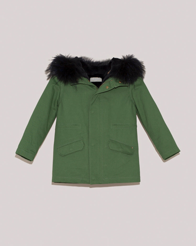 Green hooded parka with dark fur trim