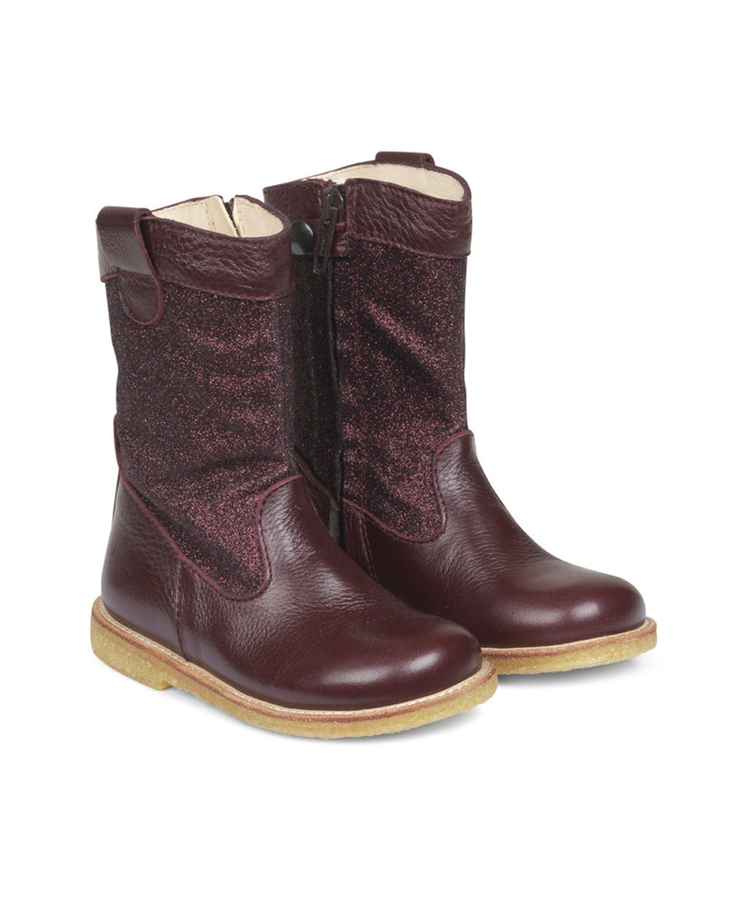 Glitter Boots With Zipper - Bordeaux - English Rabbit