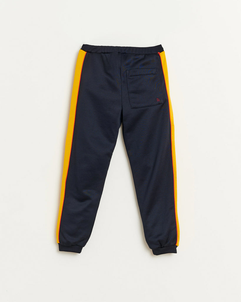 navy sweatpants with yellow side stripes and pockets back
