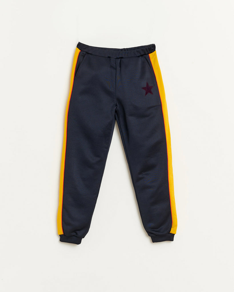 navy sweatpants with yellow side stripes and pockets