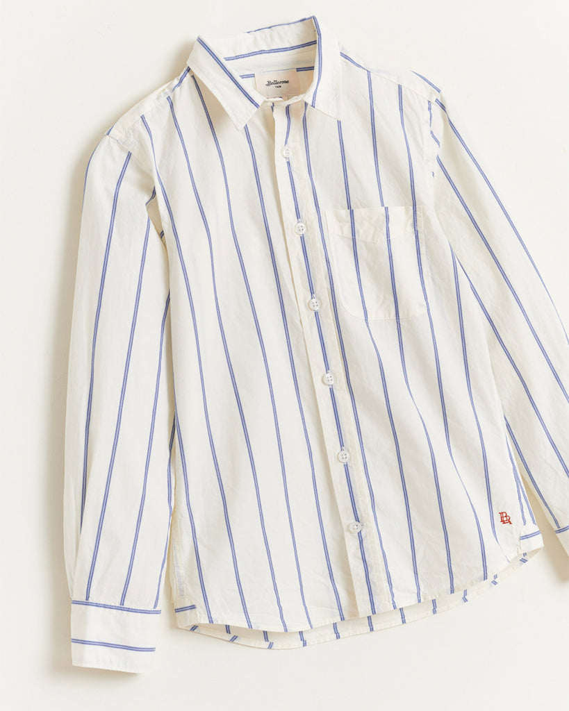 white and blue stripe button up shirt