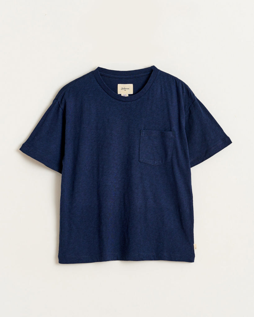 navy blue short sleeve t-shirt with side pocket