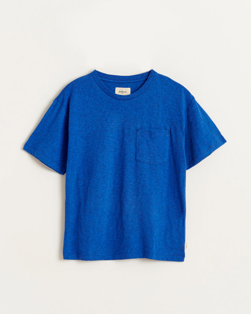 blue short sleeve t-shirt with side pocket