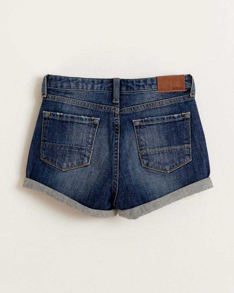 dark denim shorts with embroidered heart detail back
