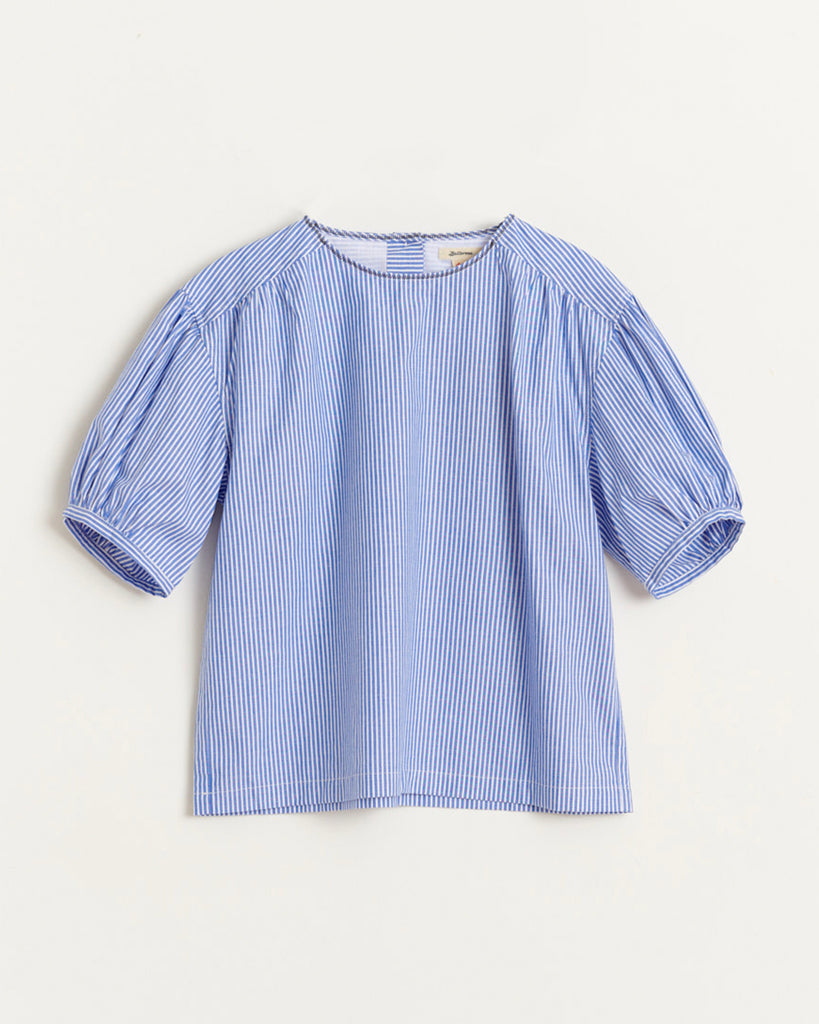 blue and white short sleeve blouse