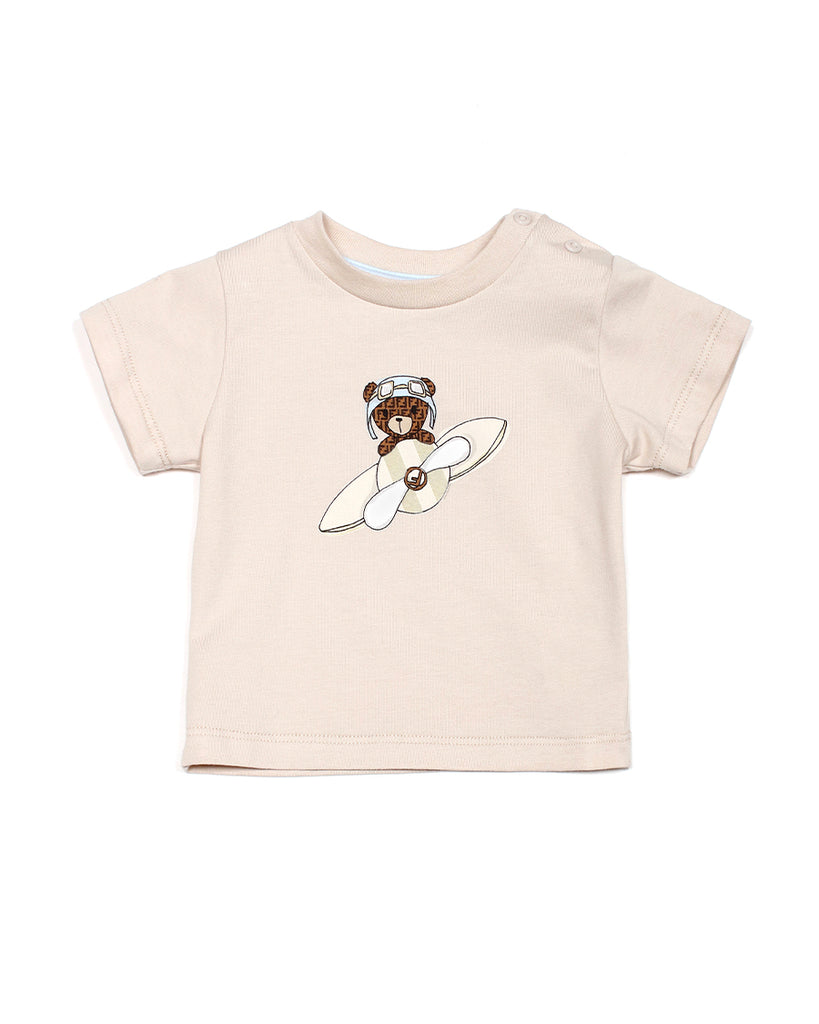 beige t-shirt with fendi bear on plane graphic