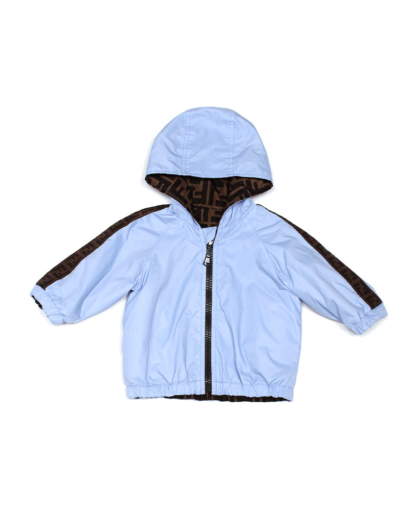Light Blue Reversible Windbreaker with Logo Stripe Sleeves