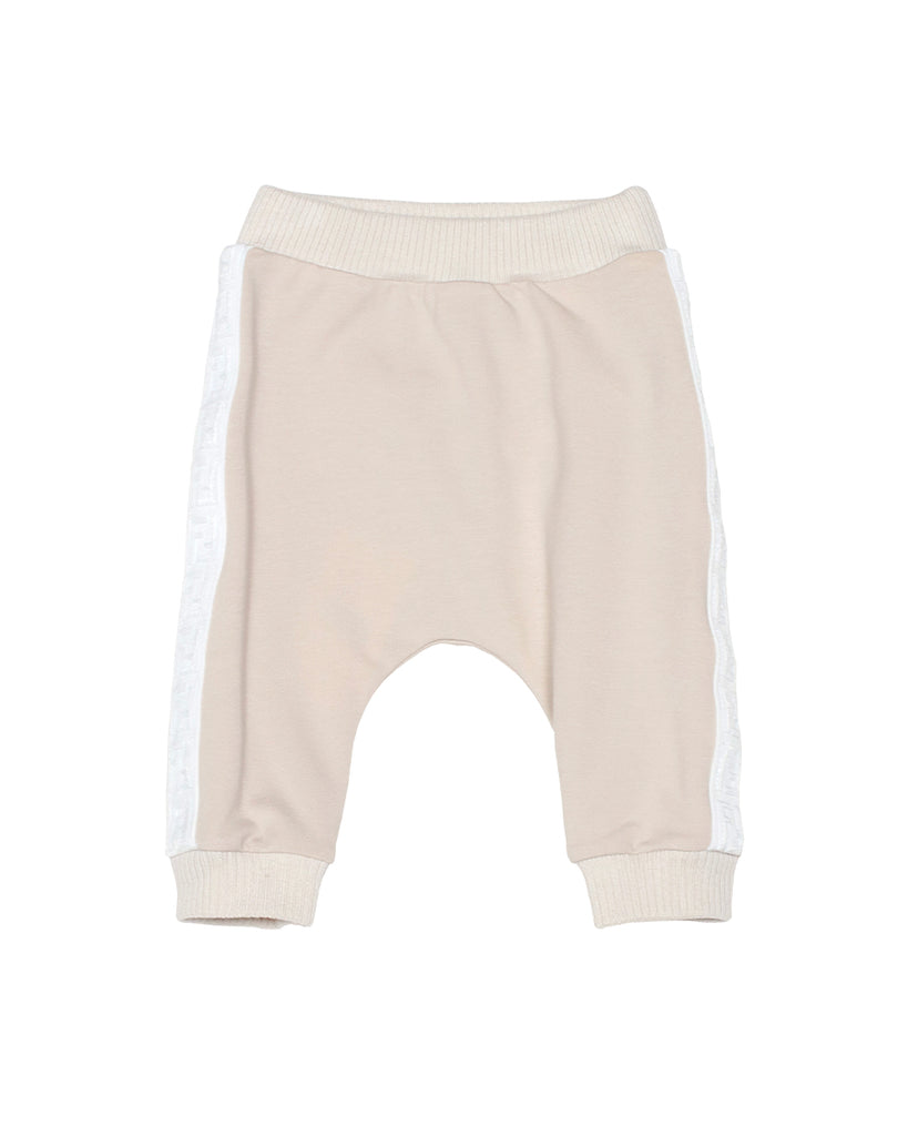 beige sweatpants with logo strap sides
