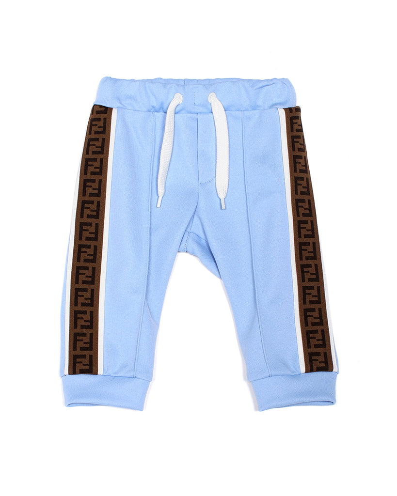 light blue trackpants with side logo