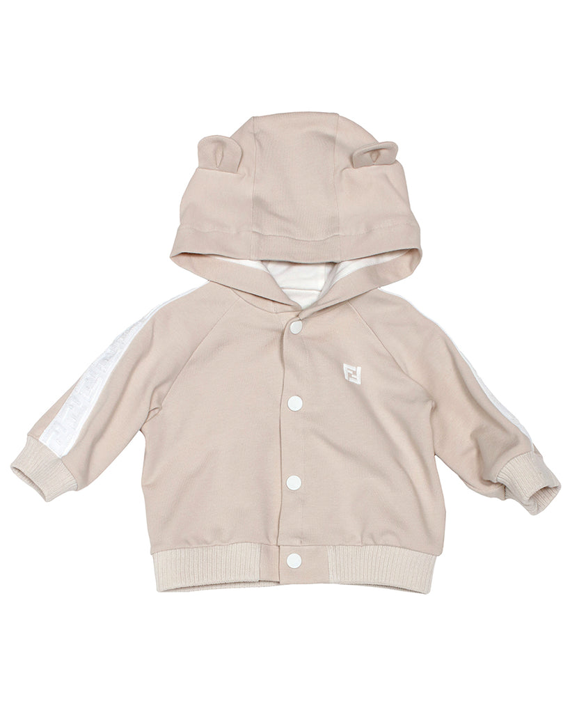 Beige Bear Hoodie with Logo Stripe Sleeves