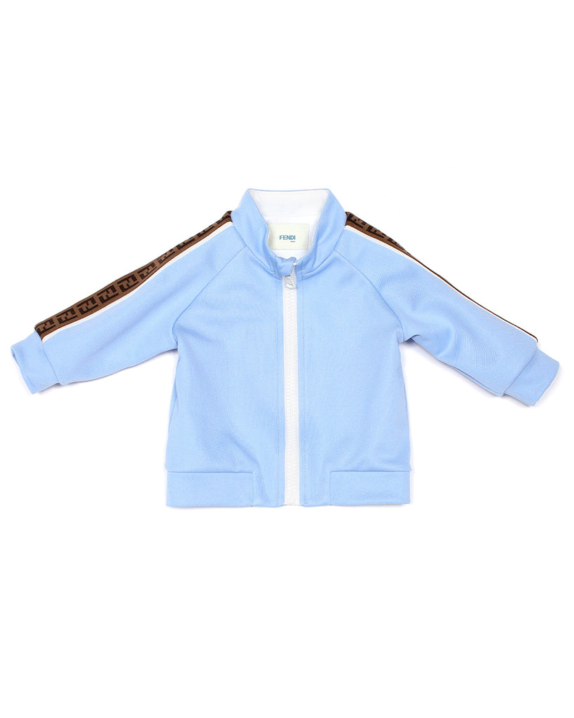 Light Blue Track Jacket with Logo Stripe Sleeve