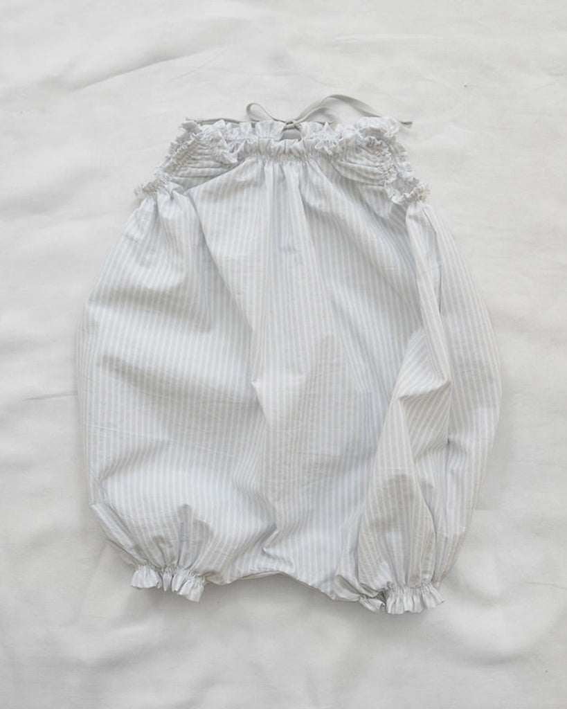 light grey stripe balloon romper