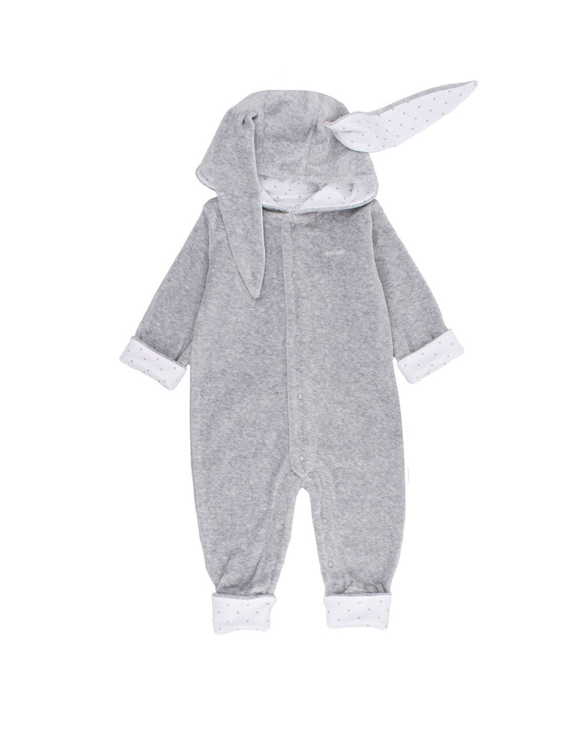 grey plush onesie with bunny ears hood