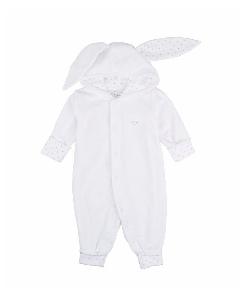 white plush onesie with bunny ears hood