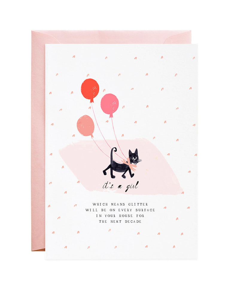 it's a girl kitten illustration greeting card