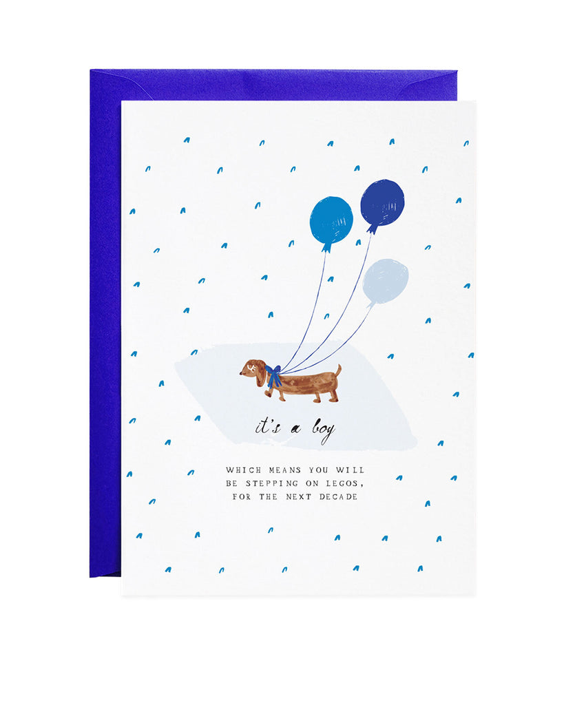 it's a boy puppy illustration greeting card