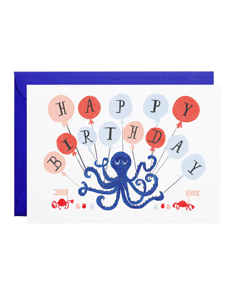 octopus holding happy birthday balloons illustration greeting card