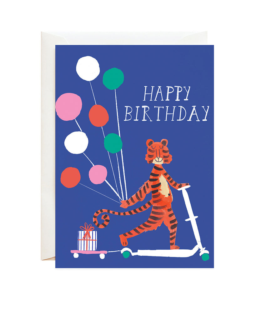tiger on scooter with gifts birthday card